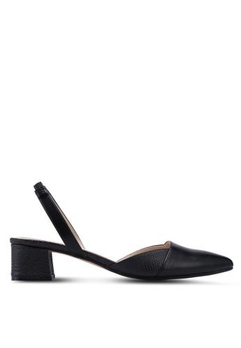 ZALORA 黑色 繞踝拼接低跟鞋 A2FBFSHDC2E5E8GS_1