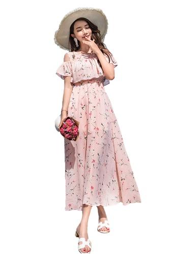 Halo pink Printed Cold Shoulder Chiffon Beach Dress 2DD8BAACA91846GS_1