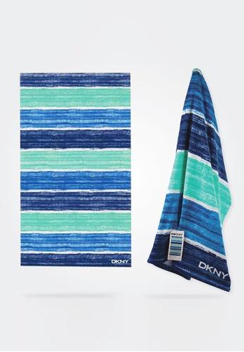Dkny orange and blue and multi DKNY Brush Stroke Blue Beach Towel. B22C0HLD74692DGS_1