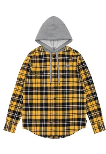 Fingercroxx yellow Hooded plaid shirt 4949DAA3B789D4GS_1