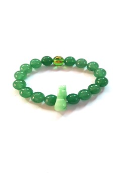 Feng Shui Jade Ox Animal Sign with Protection Mantra Bracelet