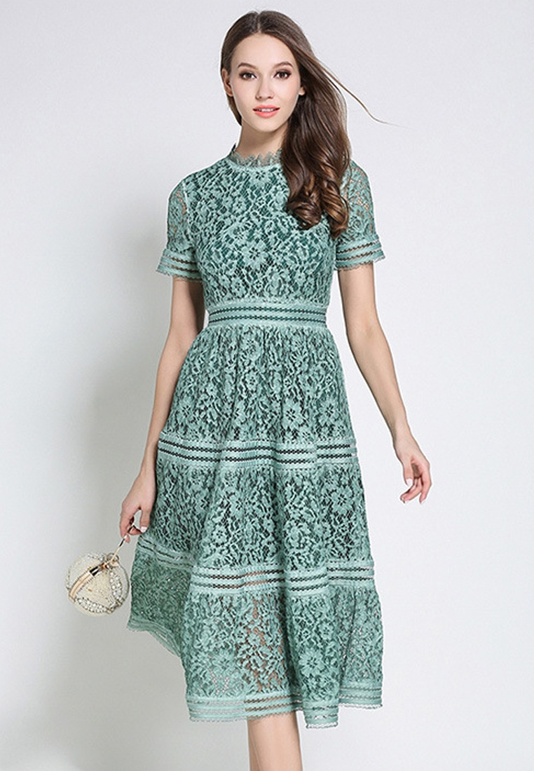 New Piece Dress Ruff Collar Lace One Green Sunnydaysweety 2018 Green CA043043GR gqHwFqT