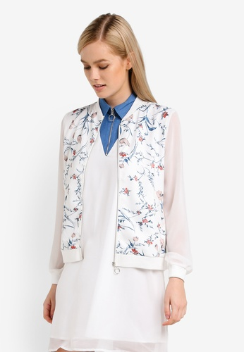 Something Borrowed white Soft Raglan Printed Bomber Jacket E2FACAA3021F49GS_1