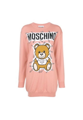 Moschino pink Moschino Safety Pin Teddy Sweater Dress in Pink 6626AAAFB0F360GS_1