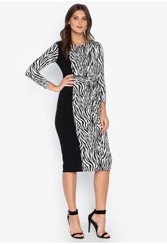 236fcfc64 DEBENHAMS black Principles - Multicoloured Zebra Print Twist Front Knee  Length Dress 70140AA9B577A3GS_1