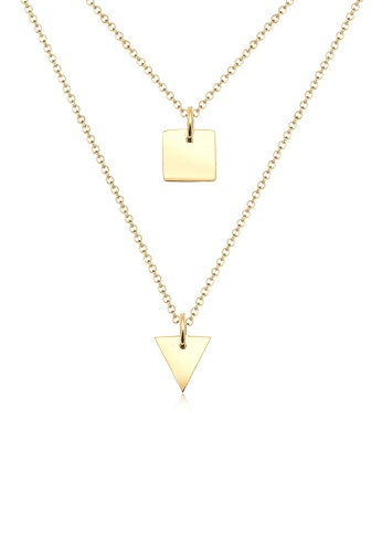 Elli Germany gold Elli Germany Triangle Rectangle Layering 925 Silver Gold Plated Necklace EL474AC67FMUMY_1