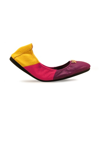 Gripz pink and yellow and purple Triplet Round Toe Foldable Flats GR357SH0G01BSG_1