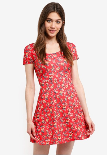 9c43db91338f Something Borrowed red Jersey Scoop Neck Skater Dress D4F94AA349831DGS 1