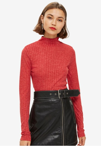 TOPSHOP red Long Sleeve Wide Funnel 08736AADC71E98GS_1
