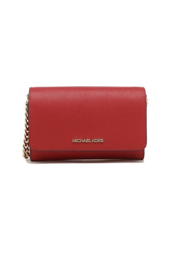 Michael Kors red Michael Kors Jet Set Travel Medium Multifunction Phone Crossbody Flame 66C09ACCB76AF4GS_1