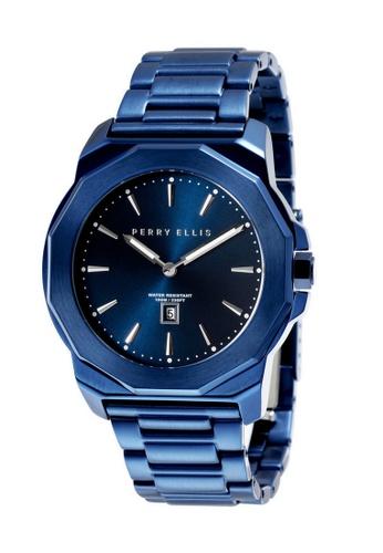 PERRY ELLIS blue Perry Ellis Decagon Unisex 42mm Quartz Stainless Steel Watch 08008-02 83993AC7E5290BGS_1