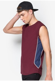 Contoured Stripe Mesh Paneled Tank Top