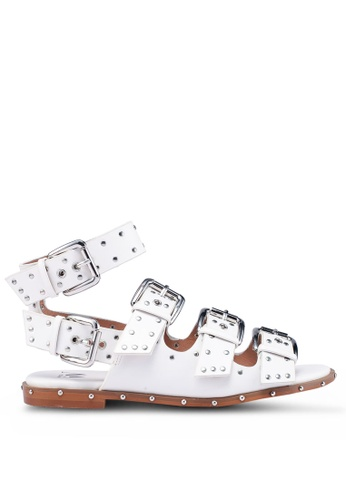 VANESSA WU white Stud And Buckle Embellished Sandals 87031SHF6C0363GS_1