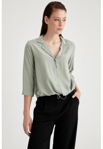 DeFacto green Woman Woven Long Sleeve Shirt 5004CAA6CB5A37GS_1