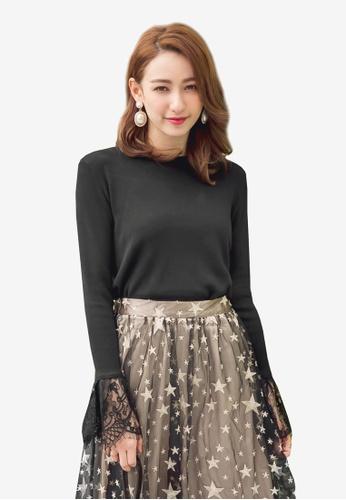 YOCO black Lace Hem Top 7BE64AA578250BGS_1