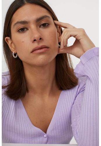 H&M purple V-neck cardigan 38920AA4AB03A8GS_1