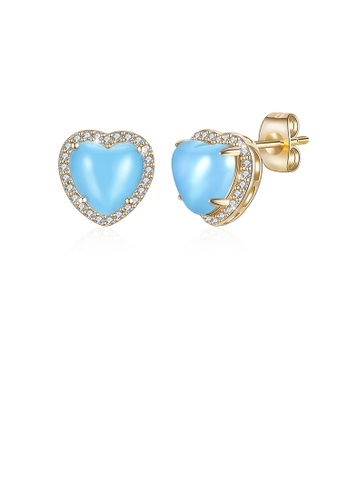 Glamorousky white Simple Plated Champagne Gold Blue Heart Stud Earrings with Austrian Element Crystal A4CA4AC7F04345GS_1