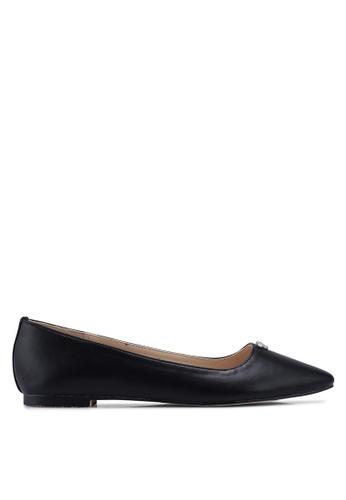 Velvet 黑色 鑽飾緞帶平底鞋 35749SHC994605GS_1