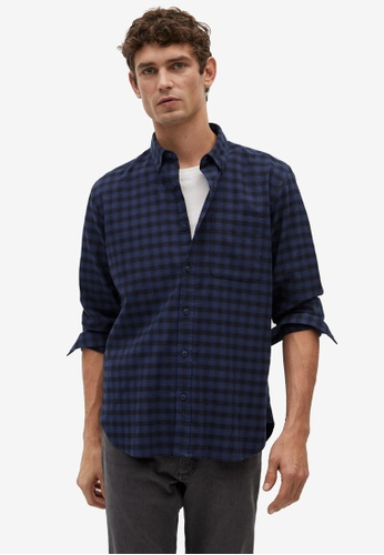 Mango Man blue Regular Fit Checked Flannel Shirt 33279AAF766B84GS_1