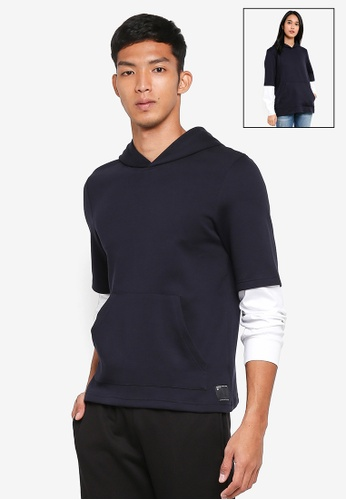 UniqTee navy Layered Long Sleeve Hoodie 7E261AAE4BFCAFGS_1