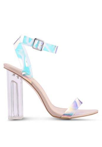 Public Desire beige Alia Strappy Perspex High Heels F8B5ASH3078AEBGS_1