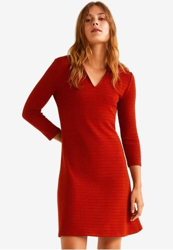 Mango red Striped Shirt Dress 3B1ECAA3D2E8FFGS_1