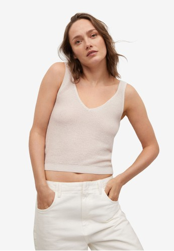 Mango grey Knitted Cropped Top 98EBFAAD752572GS_1
