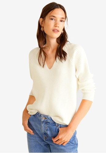 Mango beige Ribbed Knit Sweater F473DAA6E0EB32GS_1