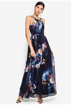 09e6da482878 Little Mistress multi and navy Floral Blur Maxi Dress 9A063AA220E603GS 1