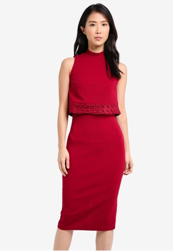 ZALORA red Double Layer Dress with Trim 364A3AA4BE74DCGS_1