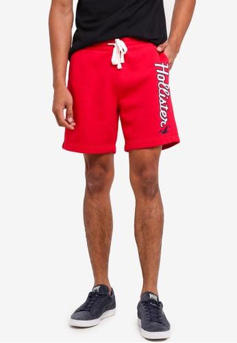 Hollister red Logo Prep Sweatshorts 975F4AA8A28E26GS_1