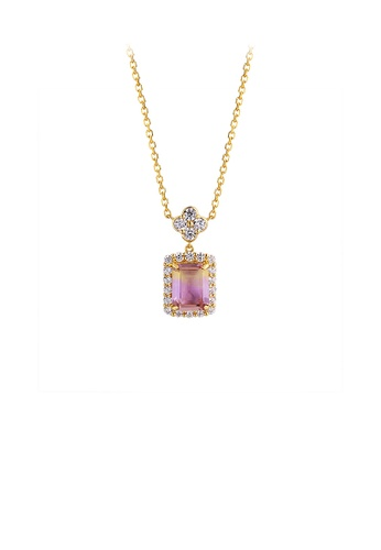 Glamorousky purple 925 Sterling Silver Plated Gold Simple Bright Flower Geometric Pendant with Cubic Zirconia and Necklace C933EAC23F8FC0GS_1
