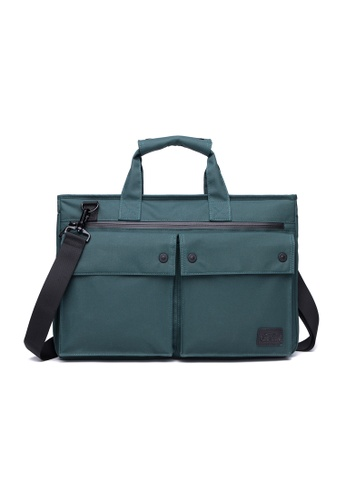The Dude green and blue Smasher Briefcase TH373AC25URUHK_1