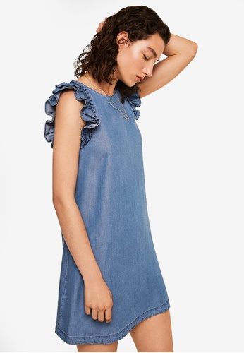 Mango blue Ruffled Soft Dress 82B80AA602901EGS_1