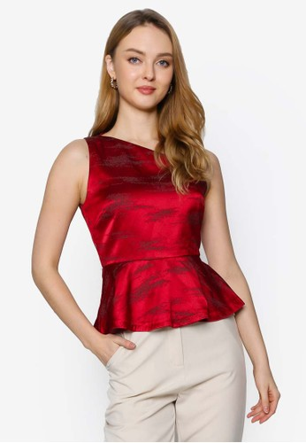 Saturday Club red A-line Top With Asymmetric Neckline C4A97AA1F78822GS_1