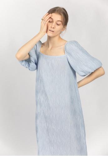 TAV blue [Korean Designer Brand] Volume Pleats Dress - Blue 2C087AACAE3AE3GS_1