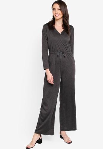 Zalia grey Drawstring Waist Wrap Jumpsuit 0A6D8AAE26E7AFGS_1