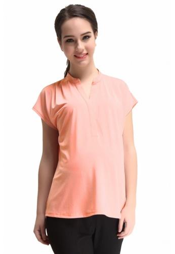 Bove by Spring Maternity pink Woven Kimono Sleeve Erin Mandarin Collar Top Peach IT5902 BO010AA0FJV9SG_1