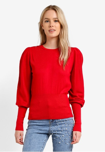 Miss Selfridge red Red Puff Sleeve Knitted Jumper MI665AA0RN0CMY_1
