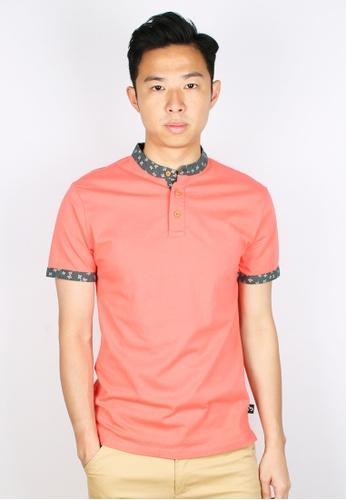 Moley pink Floral Motif Mandarin Collar Polo T-Shirt 42082AA822831DGS_1