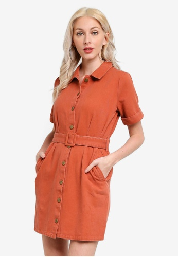 Mink Pink brown Residence Tucked Shirt Dress FFE52AAD9C5293GS_1