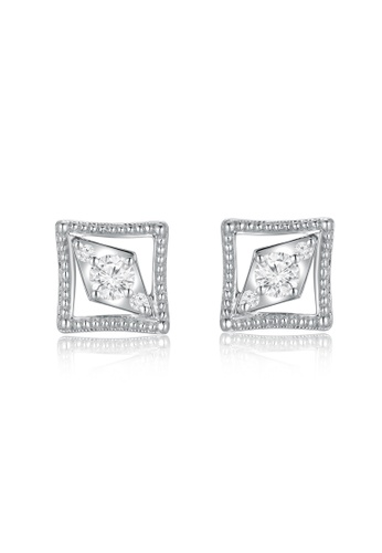 earrings cz square vera grande s womens products stainless shaped women clear steel