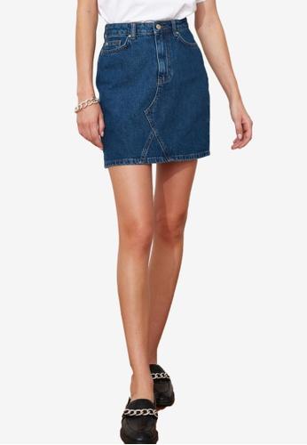 Trendyol blue Basic Mini Denim Skirt D9C9DAA2A4351DGS_1
