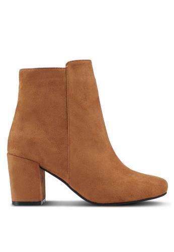 ZALORA 褐色 Chunky Heeled Ankle Boots 40DC7SH90FC8FEGS_1
