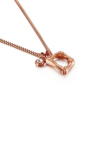 Glamorousky white Fashion Simple Plated Rose Gold English Alphabet D 316L Stainless Steel Pendant with Cubic Zirconia and Necklace B952BAC38C5803GS_1