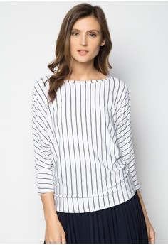 Long Sleeves Printed Stripes Tee with Low Back Detail