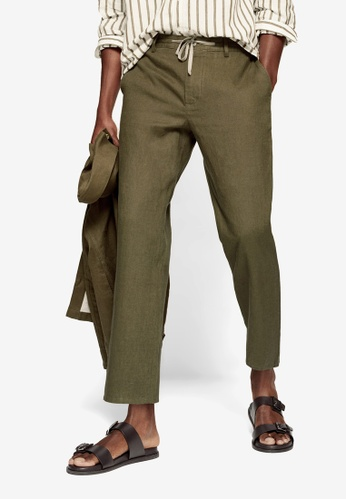 MANGO Man 綠色 Relaxed Linen Trousers 9D30AAAE019B22GS_1