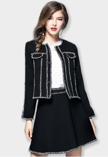 Sunnydaysweety black 2017 F/W  Long sleeve Tweed Knit Coat A092744 SU219AA0G6QVSG_1