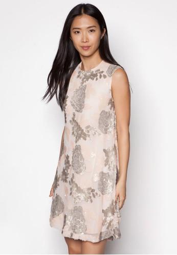 亮面閃飾無袖連zalora 衣服評價身裙, 服飾, 洋裝