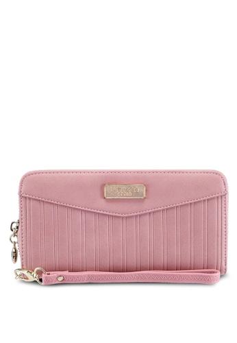 Unisa pink Debossed Pattern Ladies Zip-Up Wallet F0662AC695E75FGS_1
